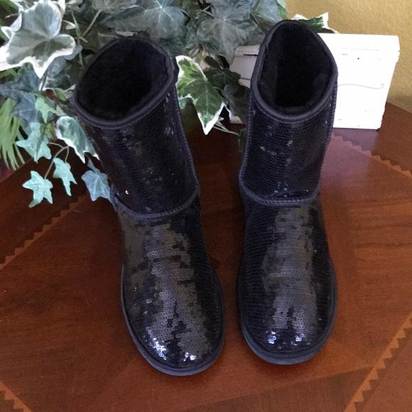 ab06ccbea0f UGG Black Sequin Classic Short Boots
